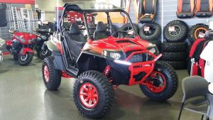 polaris rzr indy red with No Limit Wheels Octane Positive Bullet